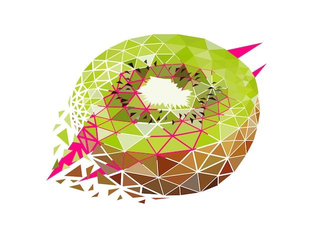 Vector kiwi in low poly style. digital art