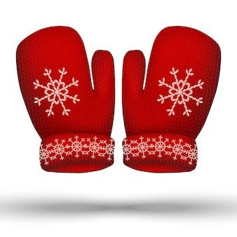 Vector knitted winter red gloves. isolated on white background.