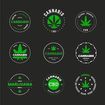 마리화나 잎 벡터 라벨 디자인입니다. 원 안에 의료용 녹색 인디카와 사티바의 아이콘과 상징의 템플릿입니다. 유기농 대마초 sbd 및 thc가 있는 그래픽 로고.