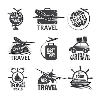 Vector label or logos forma travelling theme. monochrome pictures of airplanes