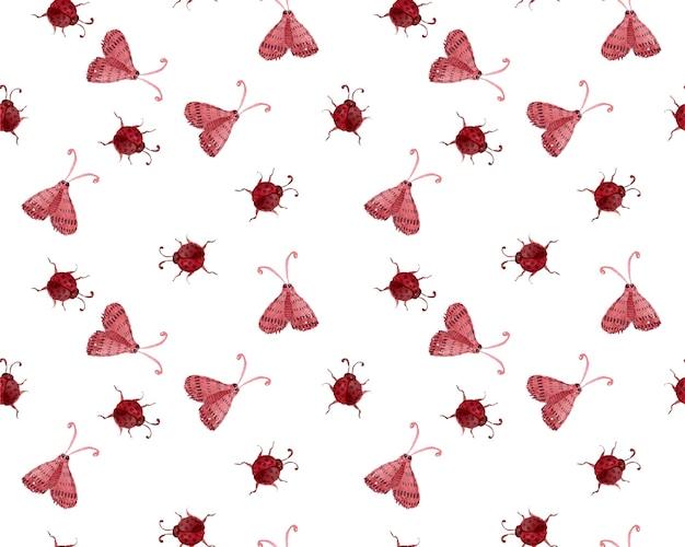 Vector ladybug watercolor seamless pattern