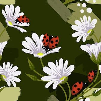 白い花の縫い目パターンとベクトルてんとう虫
