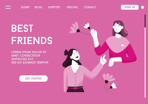 Vector landing page of best friends concept