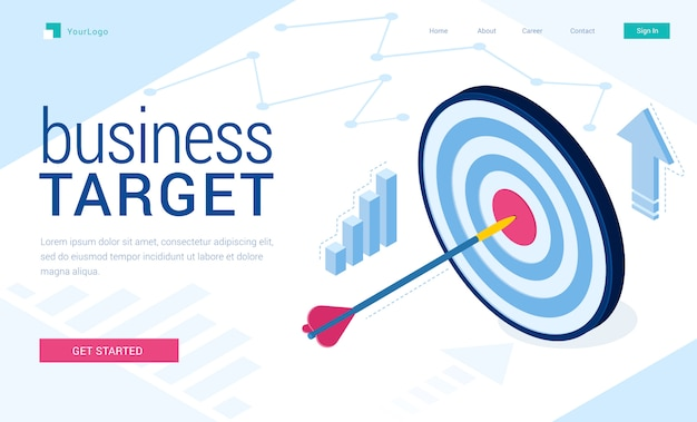Vector landing page of business target