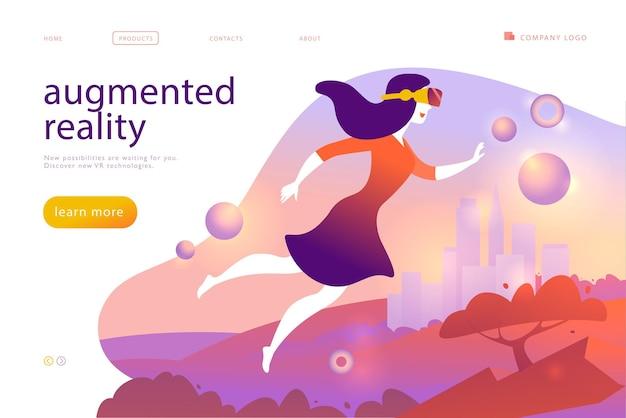 新しいvrテクノロジーのベクターランディングページデザインテンプレート-拡張仮想現実の世界に飛び込むvrゴーグルヘッドセット、ヘルメット、メガネの女性。フラットスタイル。 webページのバナー、モバイルアプリ、uiの場合