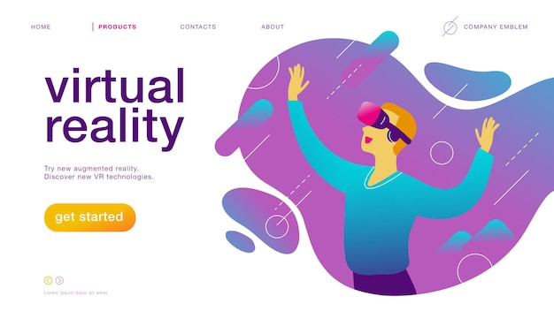 Vector landing page design template for new vr technology: man in vr goggle headset / helmet / glasses in augmented abstract virtual reality world. flat style. good for web page banner, mobile app, ui