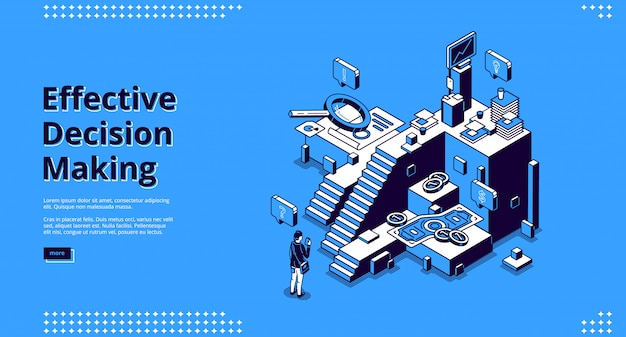 Vector landing page of effective decision making