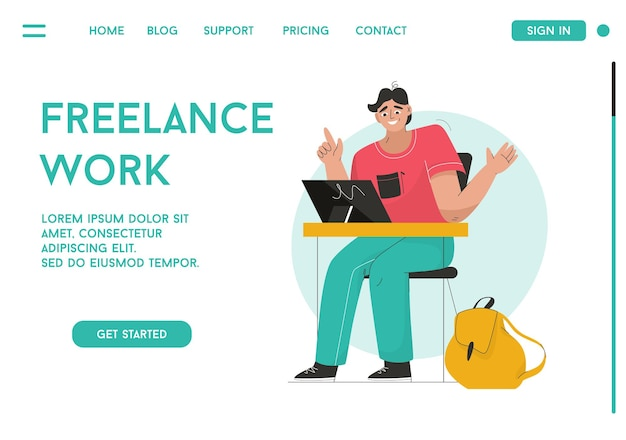 Vector landing page of freelance work concept