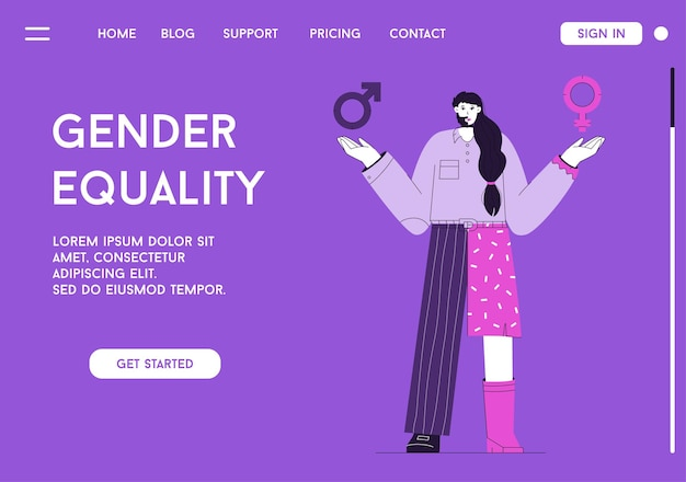 Vector landing page of gender equality concept