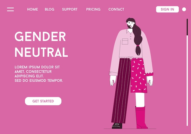 Vector landing page of gender neutral concept