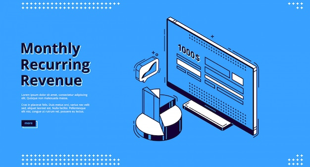 Vector landing page of monthly recurring revenue