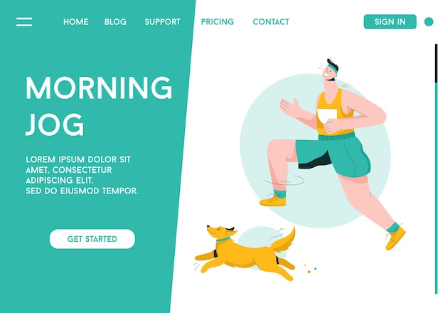 Vector landing page of morning jog concept.
