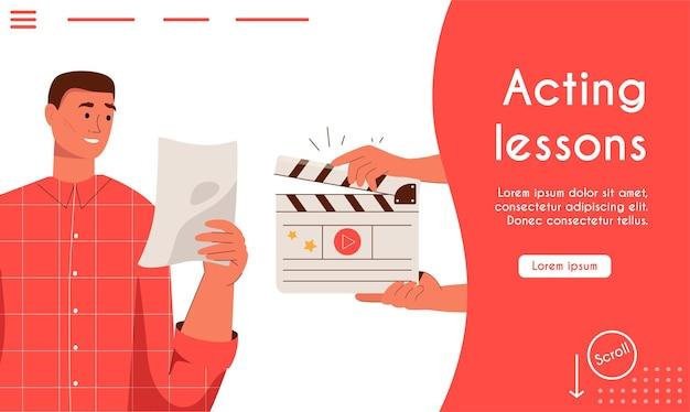 Целевая страница вектора концепции уроков актерского мастерства