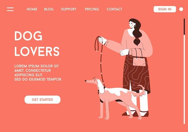 Dogloversコンセプトのベクターランディングページ