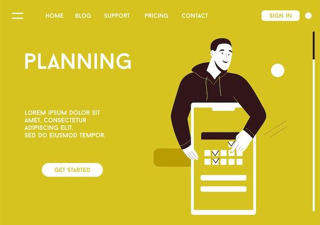 プランニングコンセプトのベクターランディングページ。男は巨大なスマートフォンを使用してカレンダーに仕事のタスクやイベントを入力します。モバイルアプリケーションインターフェイスのデザインシーン。広告バナーのキャラクターイラスト