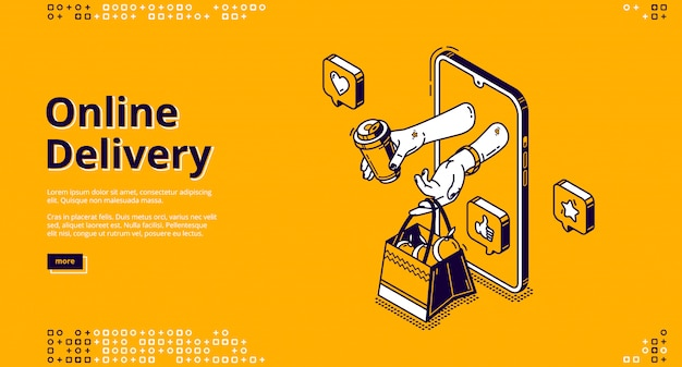 Vector landing page of online delivery
