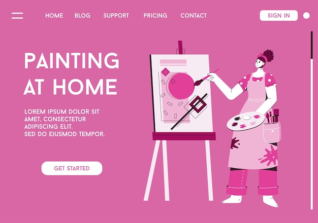 Vector landing page of painting at home concept.