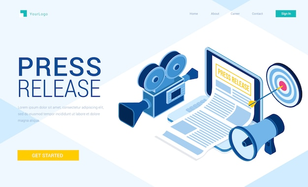 Vector landing page of press release