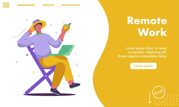 Vector landing page of remote work concept