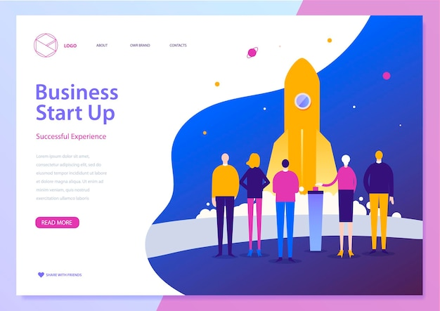 Vector landing page template of business start up modern design concept of web page
