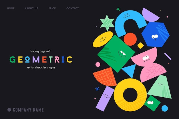 Vector landing page with character geometric figures on black background cute cartoon characters