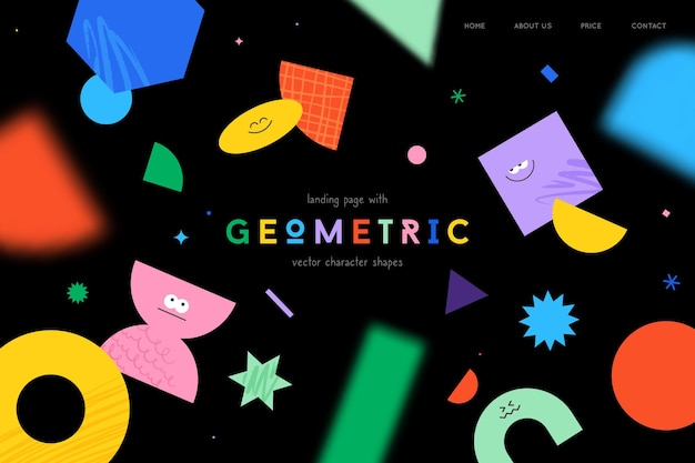 Vector landing page with character geometric figures on black background