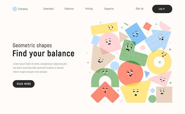 Vector landing page with character geometric figures on white background