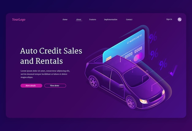Vector landing page with isometric illustration of automobile and banking credit card