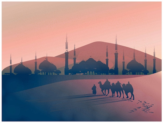 Vector landscape of arabian journey with camels through the desert with mosque