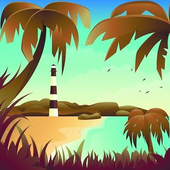 Vector landscape beach lighthouse