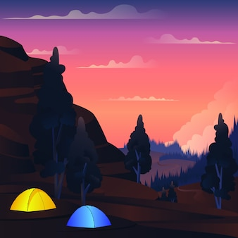 Vector landscape camping