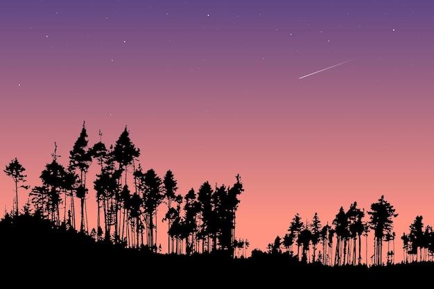 Векторный пейзаж поздно вечером в лесу силуэты сосен на открытом воздухе природы под звездами