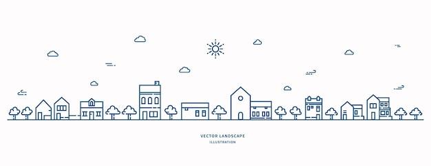 ベクトル風景線画イラスト家と木の空を構築する村の風景