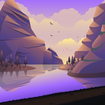 Vector landscape mountain cliff