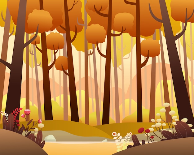 Vector landscape with pine forest in autumn.