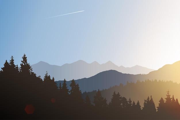 Векторный пейзаж с силуэтами лесных холмов и гор на восходе солнца, утренний солнечный свет