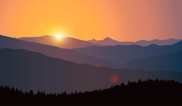 Векторный пейзаж с силуэтами гор и лесов на рассвете. природный заповедник, холмы, деревья.
