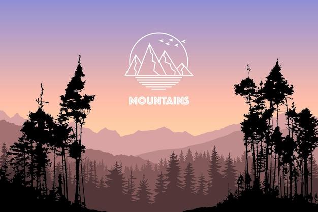 Векторный пейзаж с силуэтами гор и леса вечером закат на открытом воздухе в природе