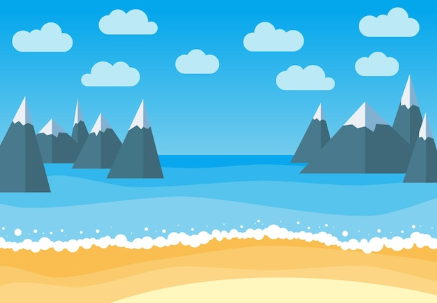 Vector landscape with summer beach and rocks. waves of the sandy beach, blue sky, sea and mountains. landscape vector illustration.
