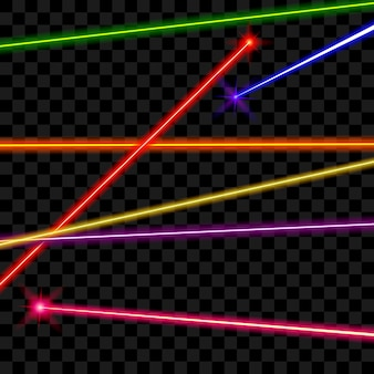 투명 격자 무늬 배경에 벡터 레이저 빔. 광선 에너지, 빛나는 선, 밝은 색 그림