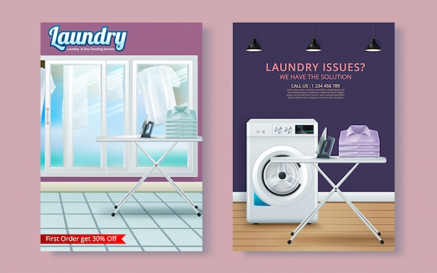 Vector laundry service flyer magazine cover, poster template