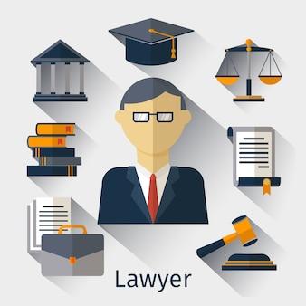 벡터 변호사, 변호사 또는 법학자 개념 배경. 변호사 및 변호사, 법률 법학자, 옹호 남자 그림