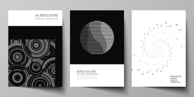 Vector layout of a cover mockups templates for brochure flyer layout booklet cover design book design abstract technology black color science background digital data minimalist high tech