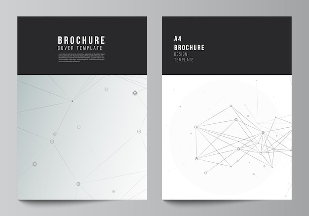 Vector layout of a cover mockups templates for brochure flyer layout booklet cover design book design brochure cover gray technology background with connecting lines and dots network concept