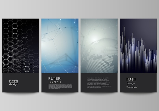 Vector layout of flyer, banner templates, technology, science, future concept backgrounds.