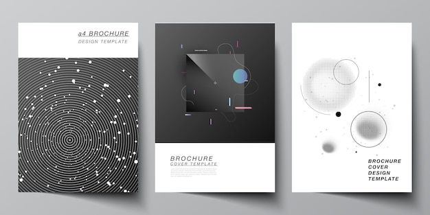 Vector layout of a format cover mockups design templates for brochure flyer layout booklet cover design book design brochure cover tech science future background space astronomy concept