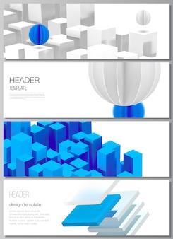 Vector layout of headers banner templates for website footer design horizontal flyer design website ...