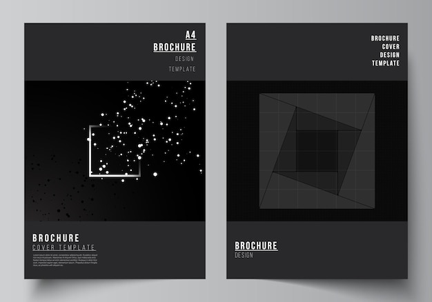 브로셔 전단지 레이아웃 책자 표지 디자인 책 디자인에 대 한 표지 디자인 서식 파일의 벡터 레이아웃 과학 의학 기술 개념의 검은 색 기술 배경 디지털 시각화