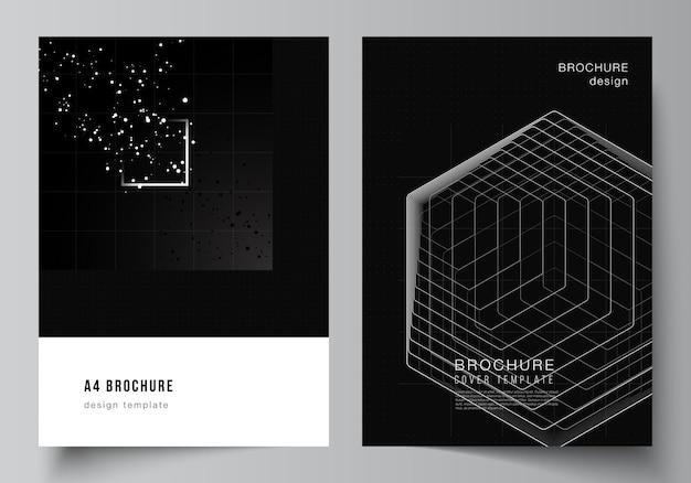 パンフレットチラシレイアウト小冊子カバーデザインブックデザインブラックカラー技術背景科学医学技術コンセプトのデジタル視覚化のためのカバーデザインテンプレートのベクトルレイアウト