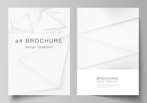 パンフレットチラシレイアウトカバーデザインブックデザインパンフレットカバーハーフトーンドット背景グレードット抽象的なグラデーション背景のカバーモックアップデザインテンプレートのベクトルレイアウト